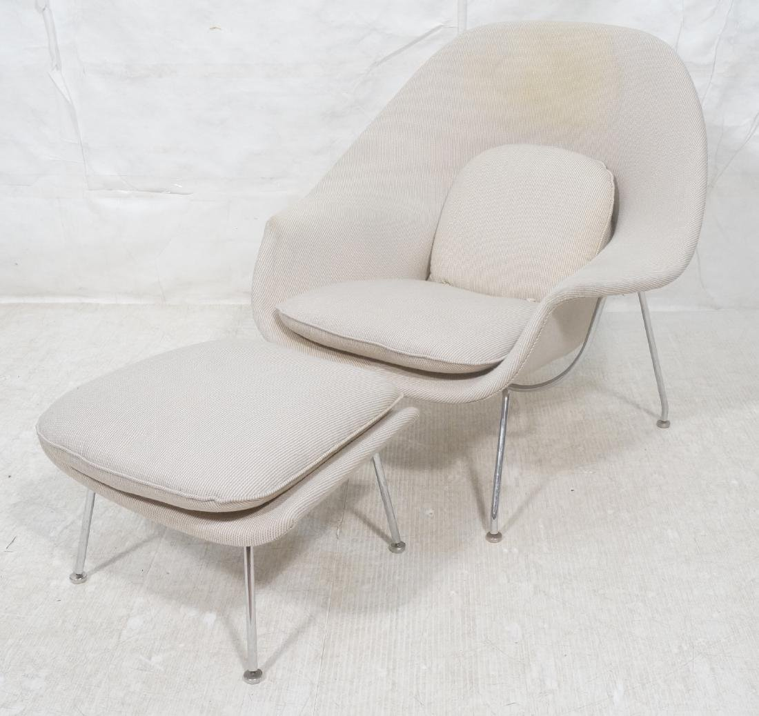 Chrome Frame Upholstered Womb Lounge Chair & Otto