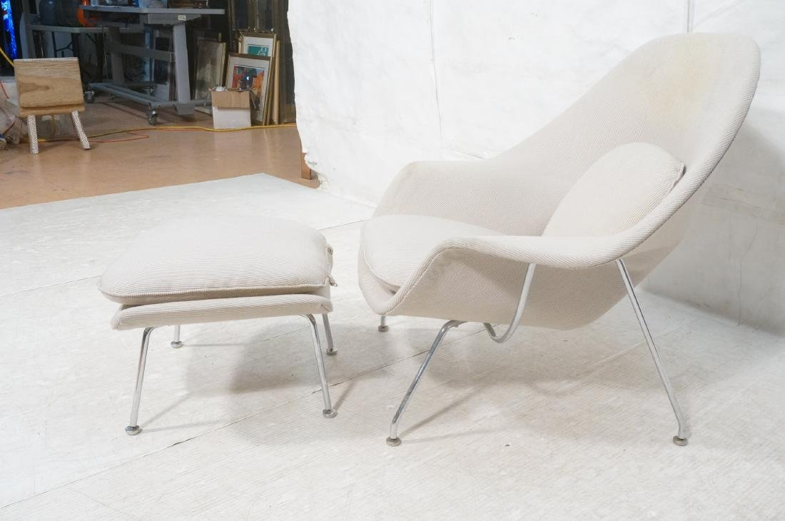 Chrome Frame Upholstered Womb Lounge Chair & Otto - 2