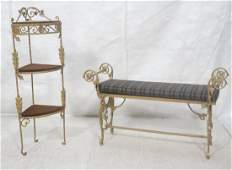 2pc Fancy Gilt Metal Upholstered Bench  Corner S