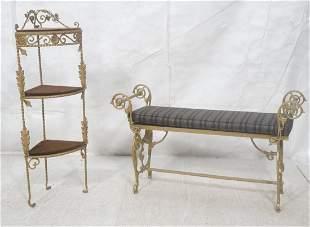 2pc Fancy Gilt Metal Upholstered Bench Corner S