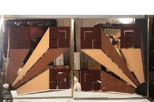 Pr Silkscreened Mirror OP ART Wall Panels Not si