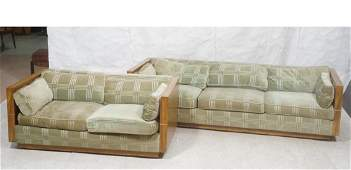 2pcs Milo Baughman Style Sofa and Loveseat  Even