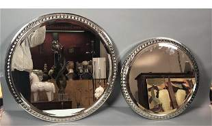 2pc Heavy Chrome Steel Round Wall Mirrors Modern