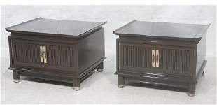 Pr Gray Lacquered End Side Tables Cantilever top