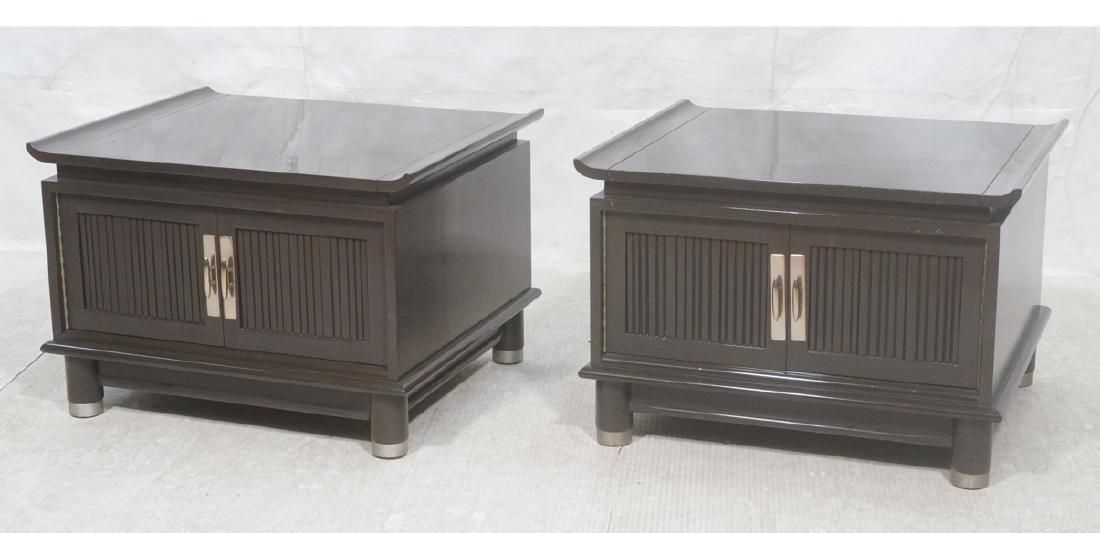 Pr Gray Lacquered End Side Tables. Cantilever top