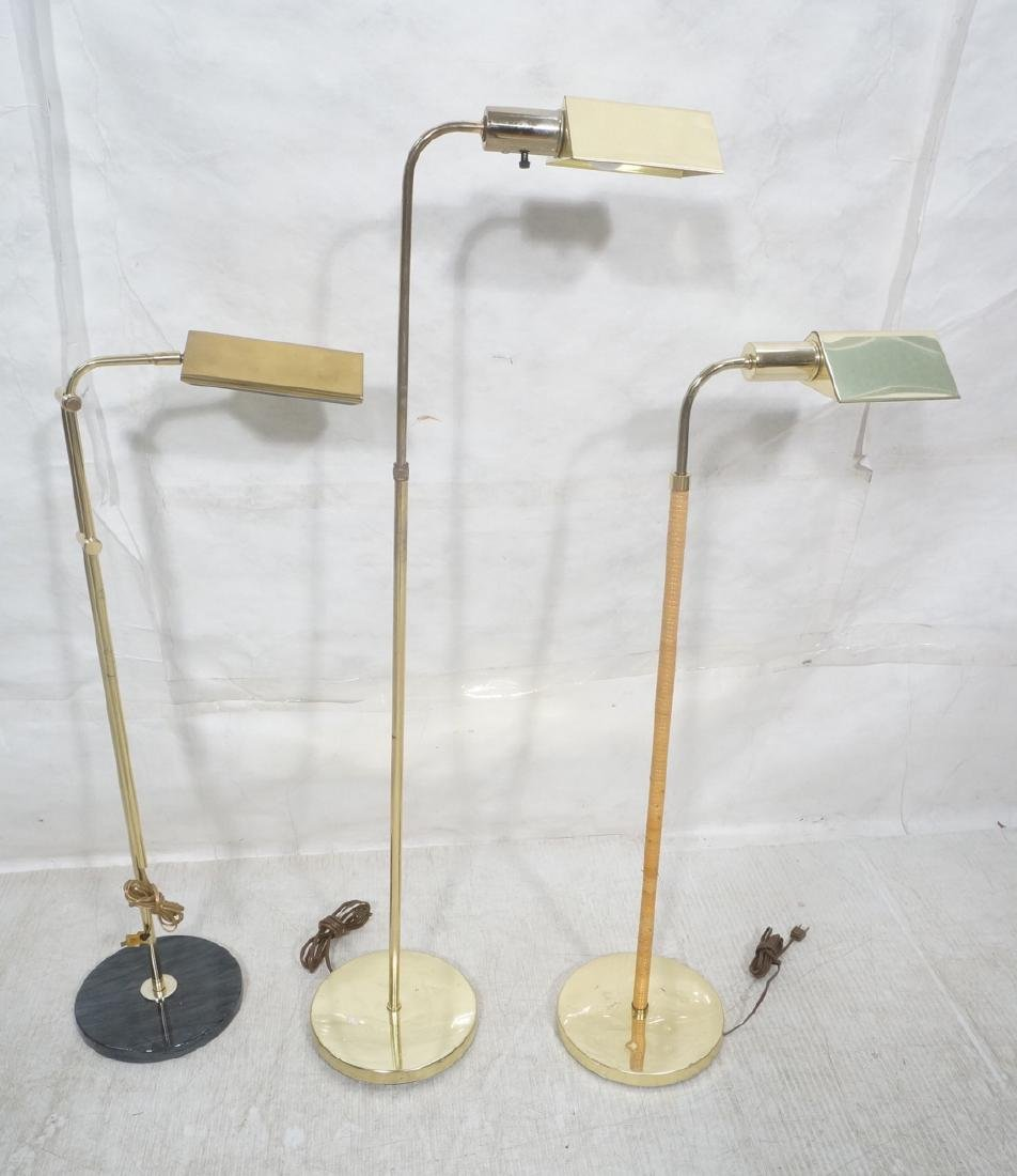 3 Modernist Brass Floor Lamps. Crespi style and 2