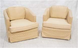 Pr Barrel Back Swivel Upholstered Lounge Chairs