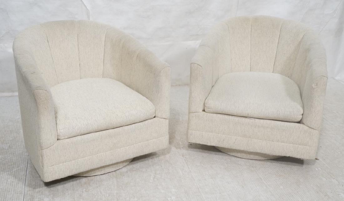 Pr PRECEDENT Barrel Back Upholstered Lounge Chair