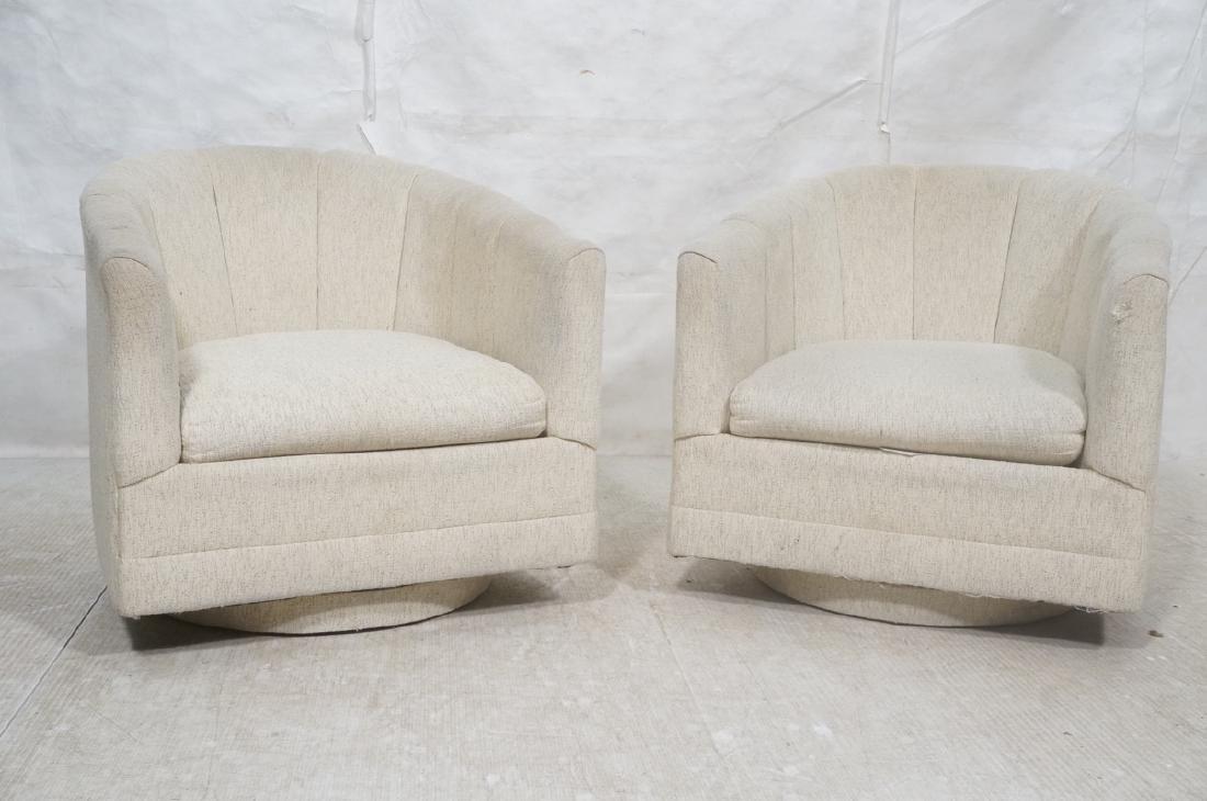 Pr PRECEDENT Barrel Back Upholstered Lounge Chair - 2