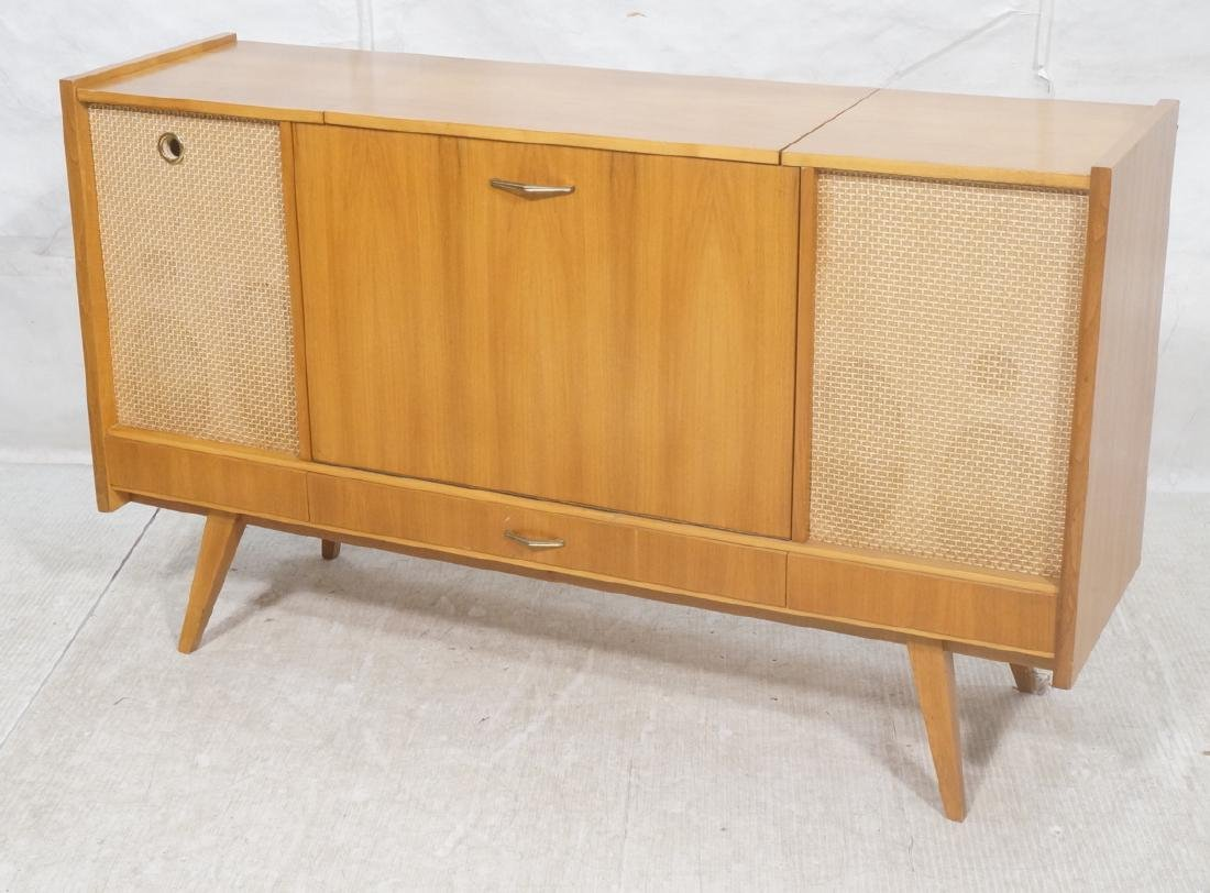 Mid Century Modern Blond Wood Stereo Cabinet. Two