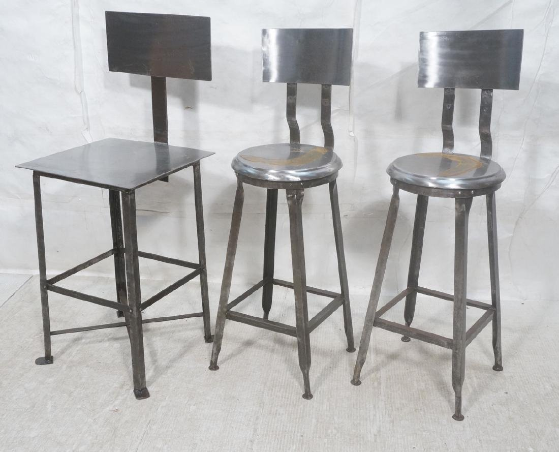 Lot 3 Welded Steel Stools. Pr of round seat stool