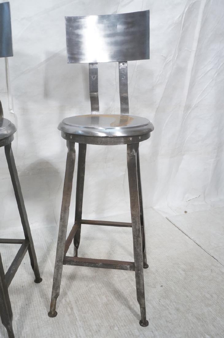 Lot 3 Welded Steel Stools. Pr of round seat stool - 2