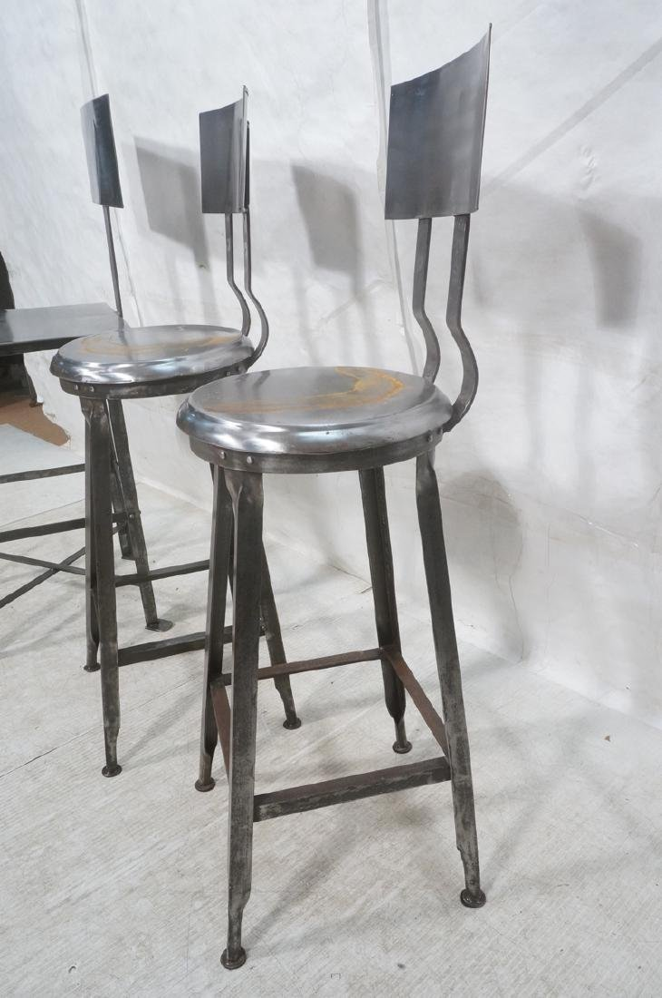 Lot 3 Welded Steel Stools. Pr of round seat stool - 3