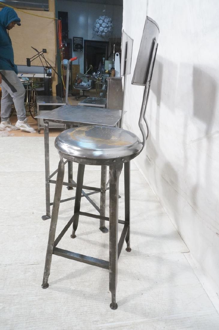 Lot 3 Welded Steel Stools. Pr of round seat stool - 6