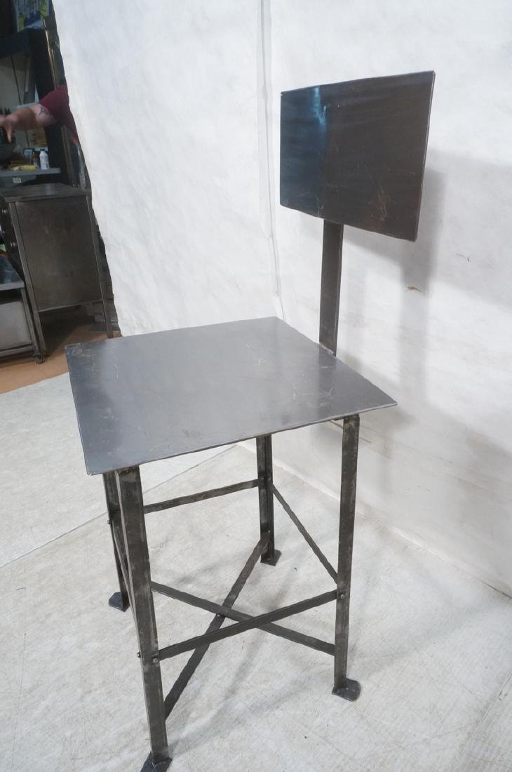 Lot 3 Welded Steel Stools. Pr of round seat stool - 8