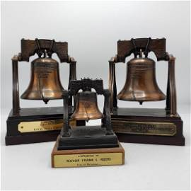 3 Frank Rizzo Liberty Bell Statues. Bell #1 for C