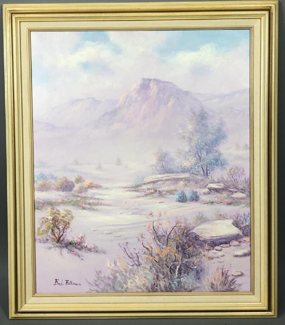 FRED FELLOWS Mountainous Landscape Painting. Purp