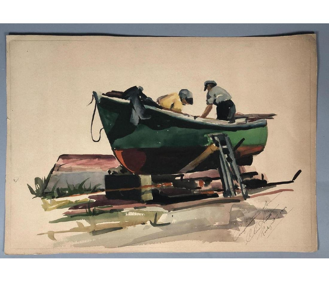 OLIVER SMITH Watercolor Fishermen on Boat. Signed