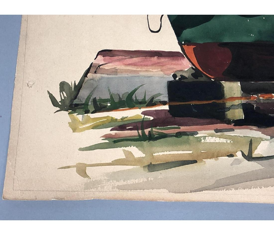 OLIVER SMITH Watercolor Fishermen on Boat. Signed - 4