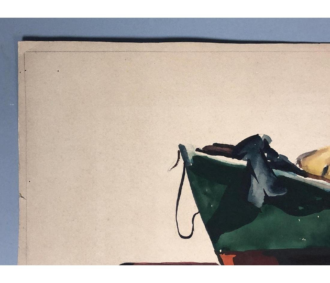 OLIVER SMITH Watercolor Fishermen on Boat. Signed - 5
