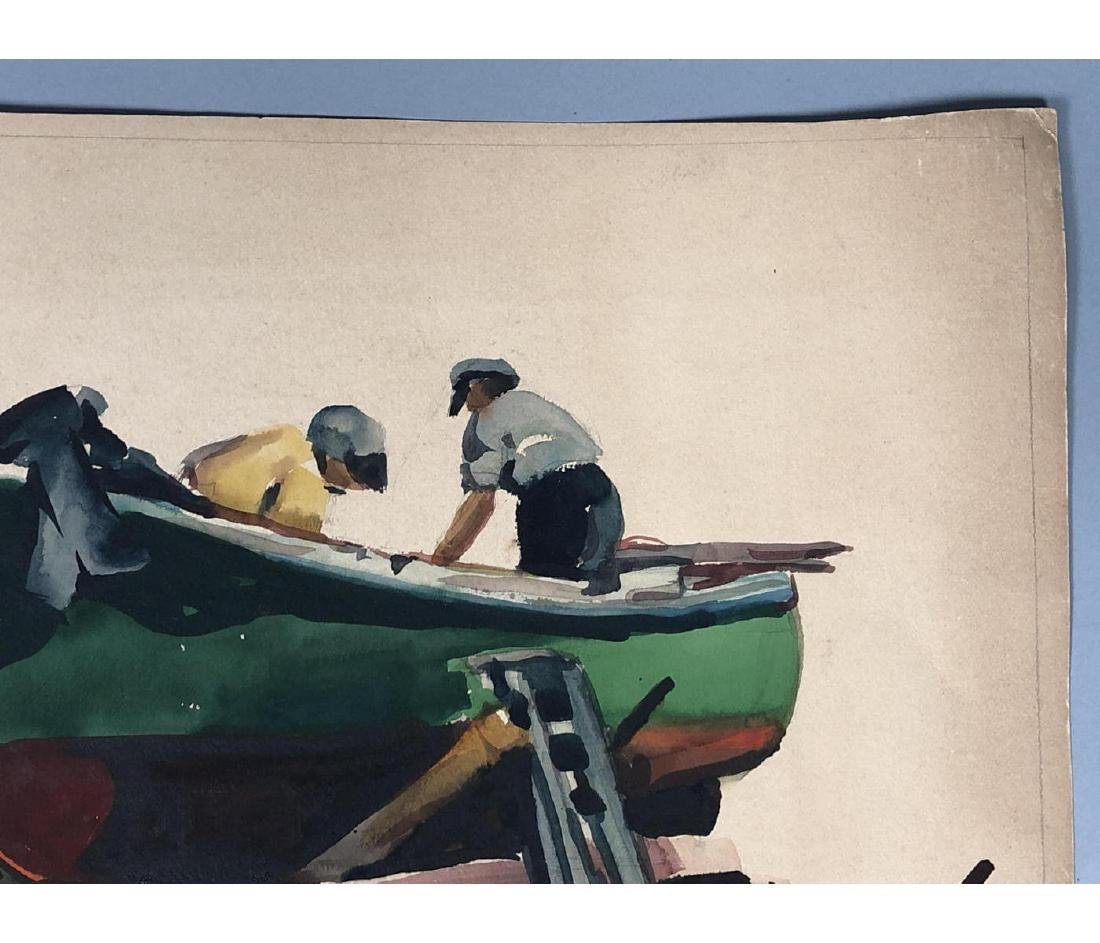 OLIVER SMITH Watercolor Fishermen on Boat. Signed - 6