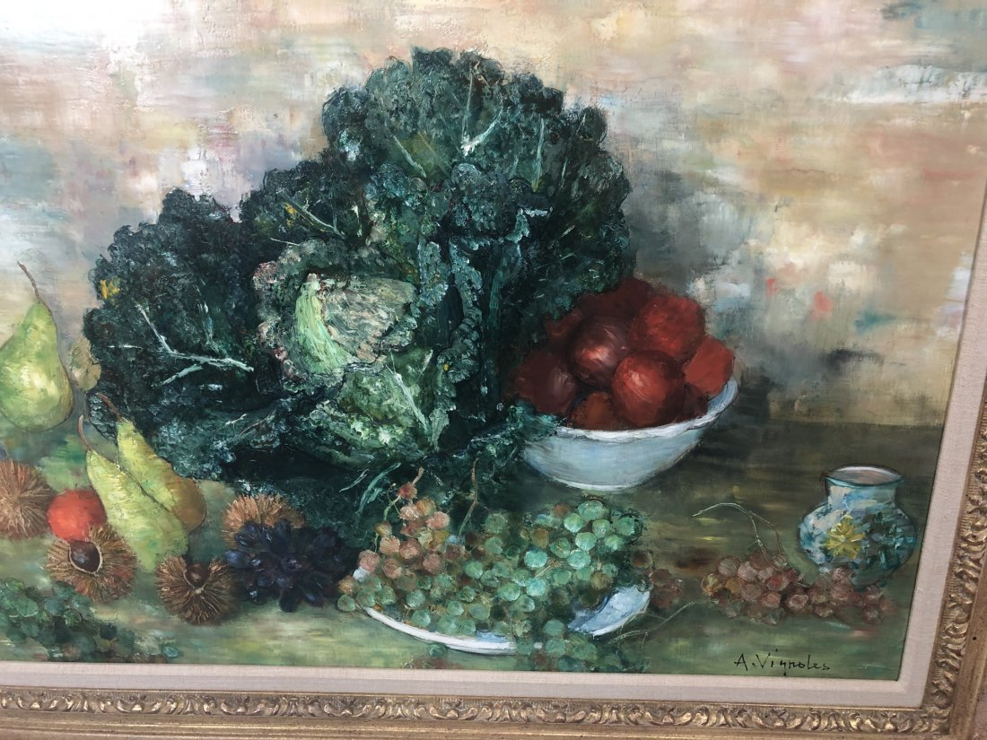 A. VIGNOLES Colorful Still Life Painting with pea - 4