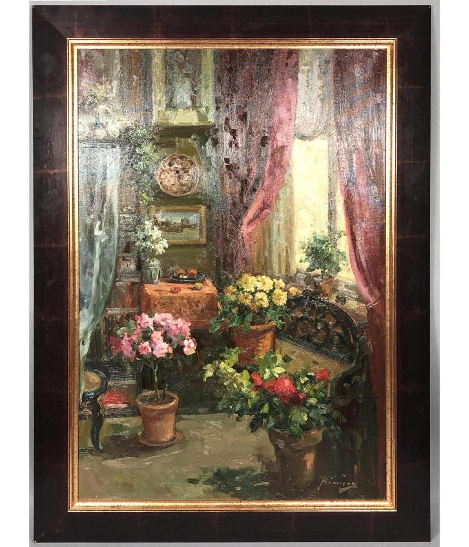 Signed Oil Painting Interior Scene. Carved settee