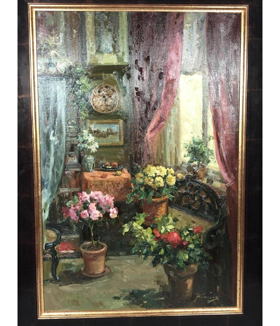 Signed Oil Painting Interior Scene. Carved settee - 3