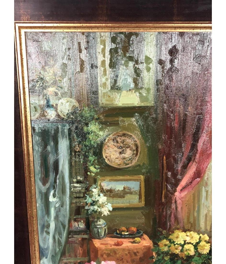 Signed Oil Painting Interior Scene. Carved settee - 4