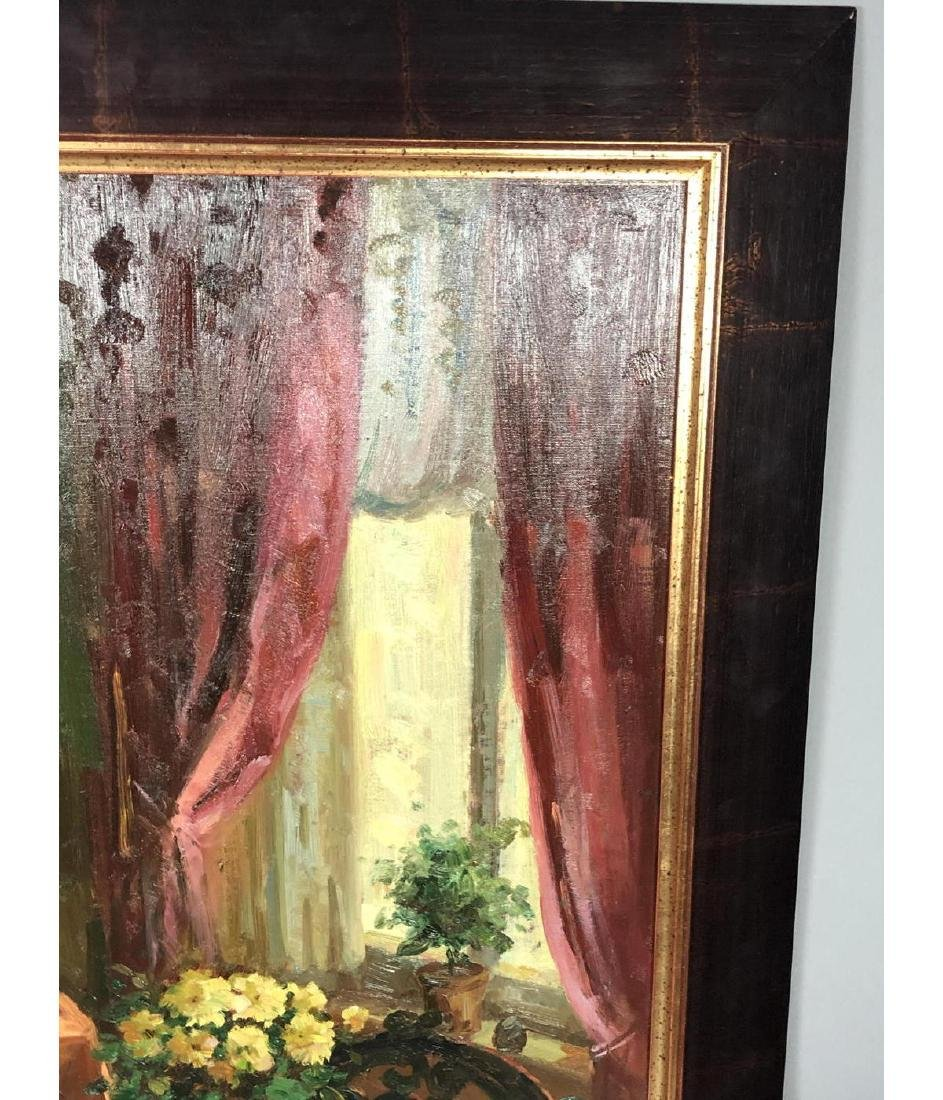 Signed Oil Painting Interior Scene. Carved settee - 5