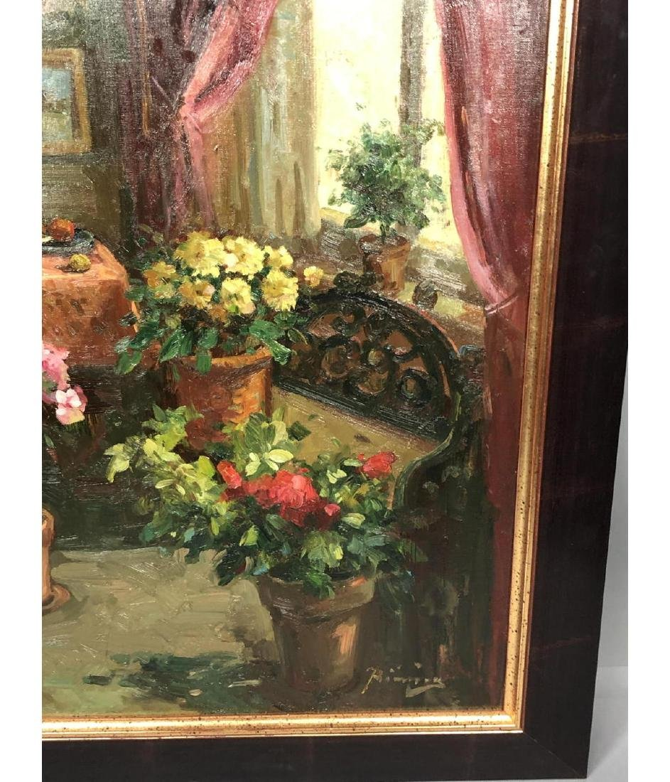 Signed Oil Painting Interior Scene. Carved settee - 6