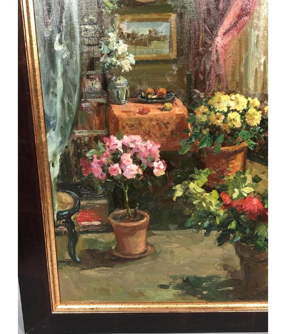 Signed Oil Painting Interior Scene. Carved settee - 7