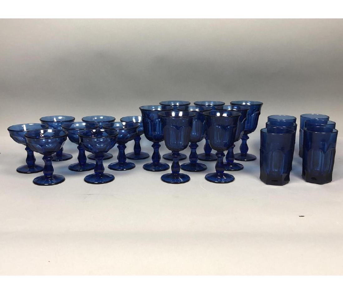 22pc Antique Cobalt Glasses Stemware. 3 part mold - 2
