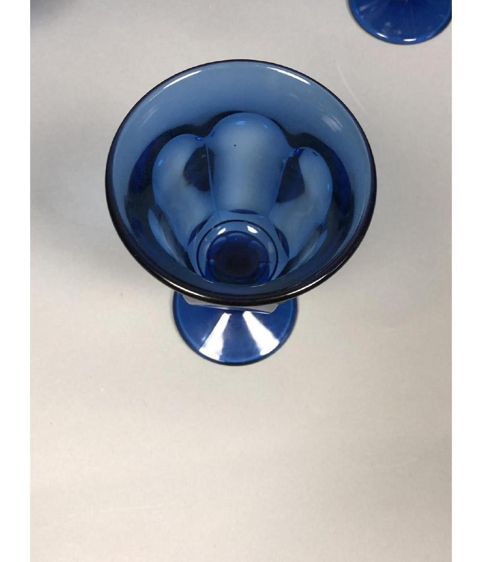22pc Antique Cobalt Glasses Stemware. 3 part mold - 6