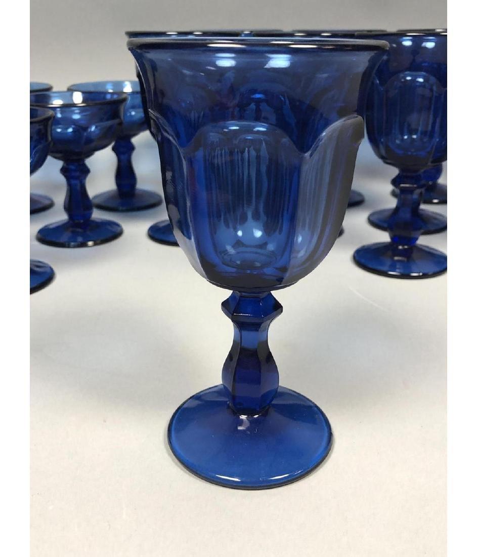 22pc Antique Cobalt Glasses Stemware. 3 part mold - 7