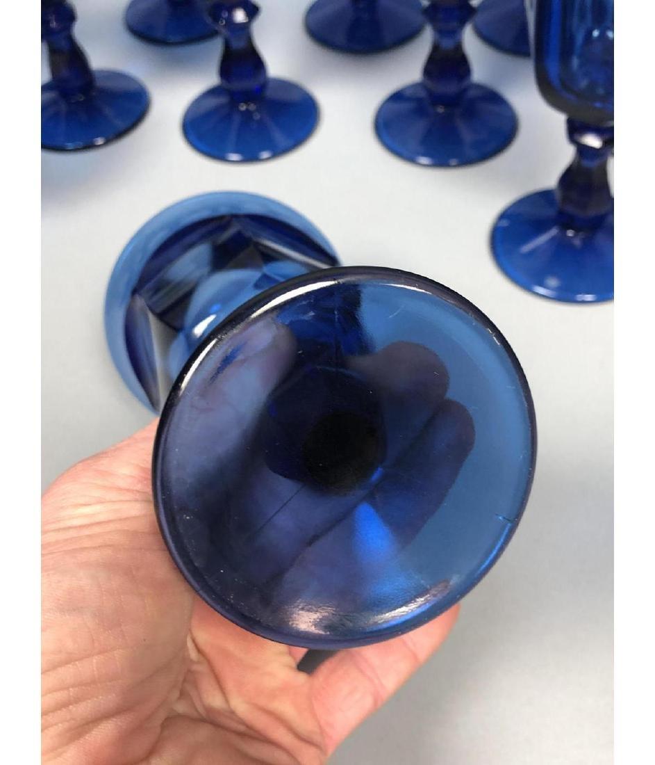 22pc Antique Cobalt Glasses Stemware. 3 part mold - 8