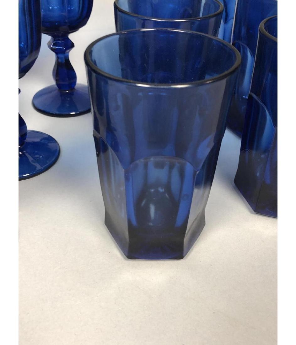 22pc Antique Cobalt Glasses Stemware. 3 part mold - 9