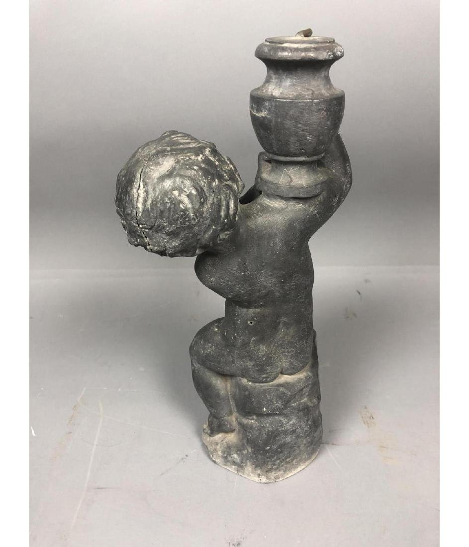 Zinc Figural Outdoor Sculpture Fountain. Boy with - 5