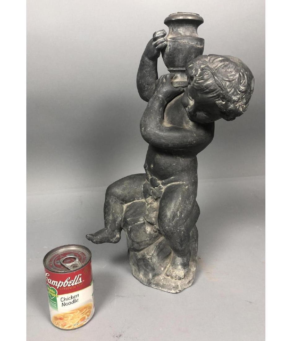 Zinc Figural Outdoor Sculpture Fountain. Boy with - 8