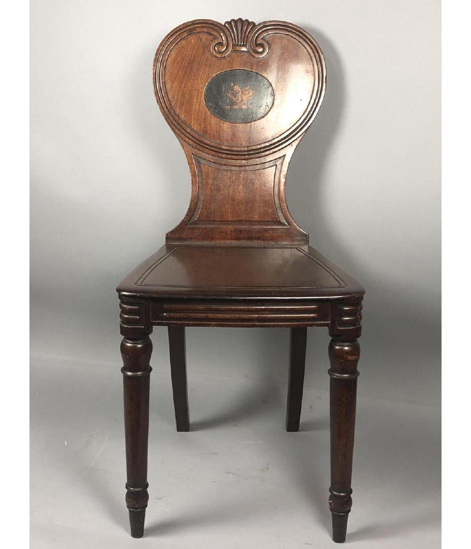 Antique Wood Side Chair. Scroll back with carved - 2