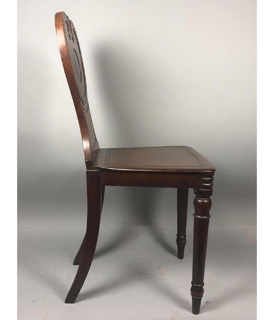 Antique Wood Side Chair. Scroll back with carved - 4