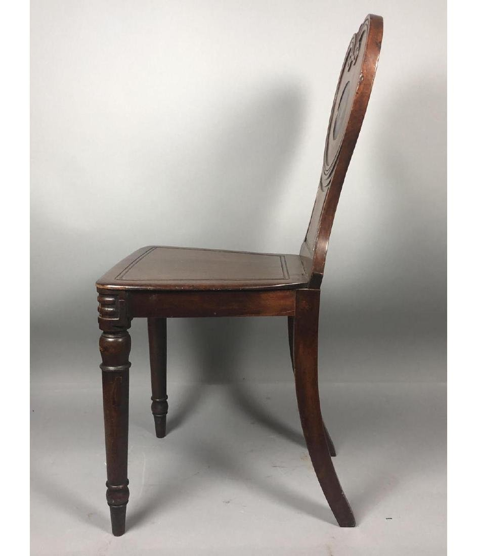 Antique Wood Side Chair. Scroll back with carved - 9