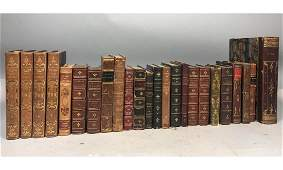 25pc Leather  Marbled Paper Books Volumes Mostl