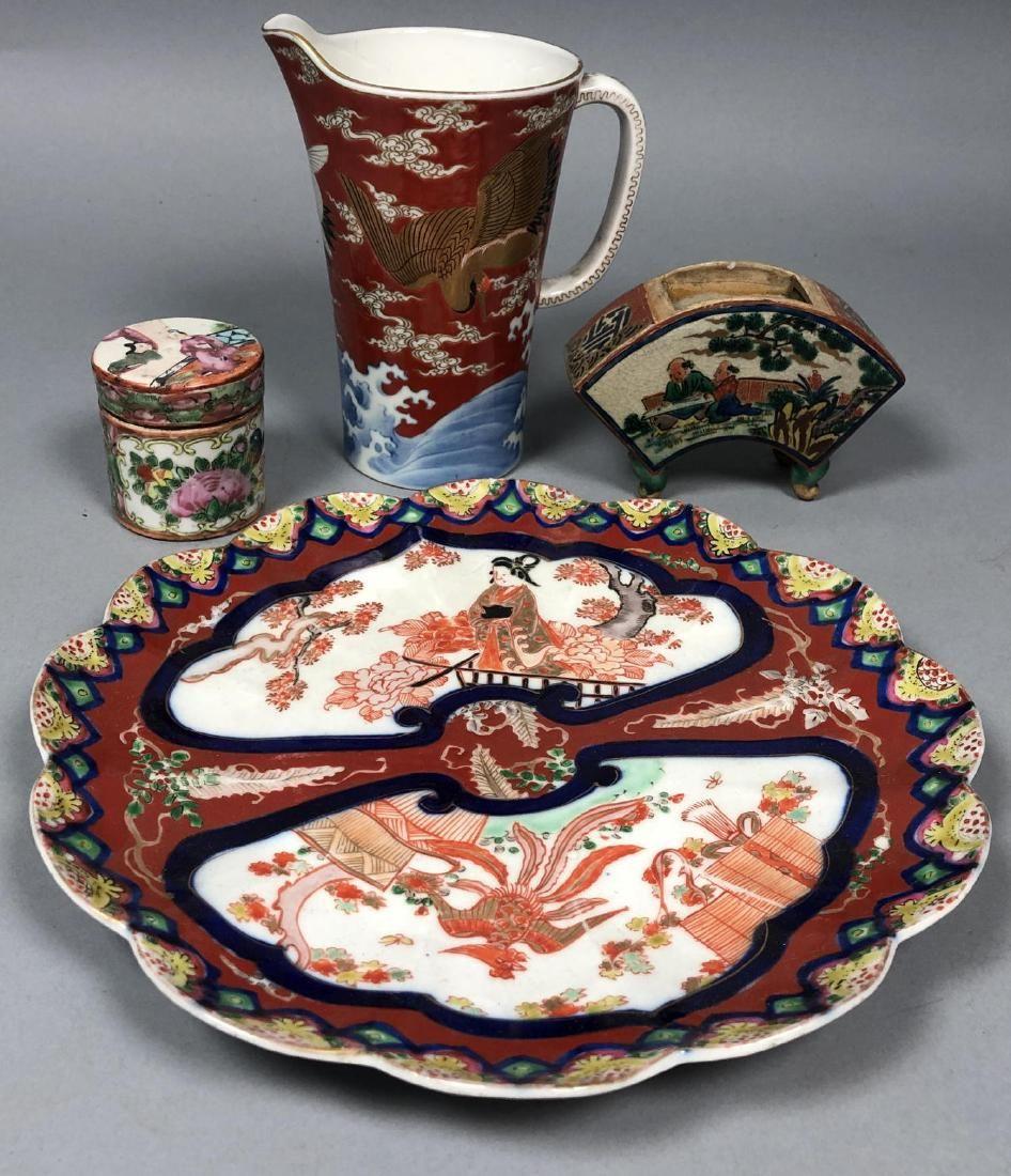 4pc Japanese Imari Style Ceramics. 1) Scalloped p