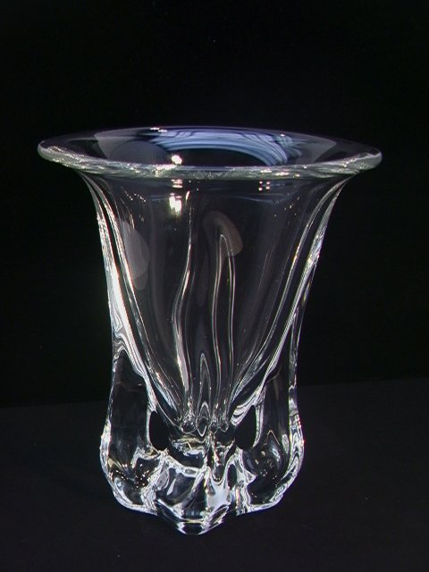 9: Signed VANNES Art Glass France Crystal Vase  Trumpet