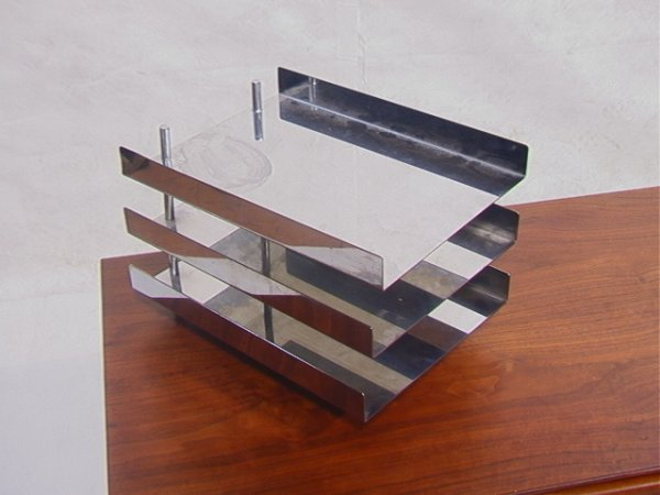 83: HUGH ACTON Stainless steel letter tray File holder