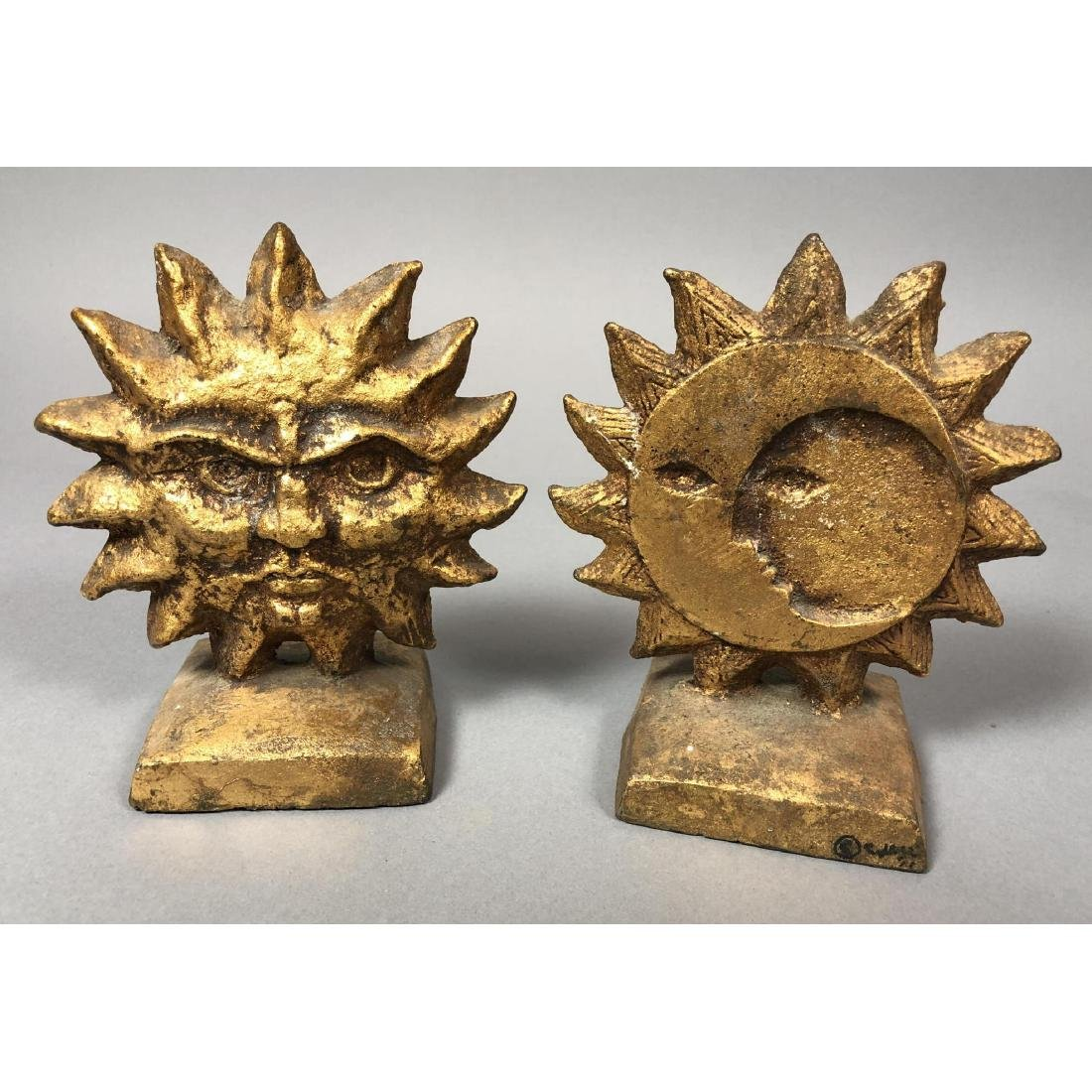 Pr C JERE Sun Moon Metal Bookends. Double sided.