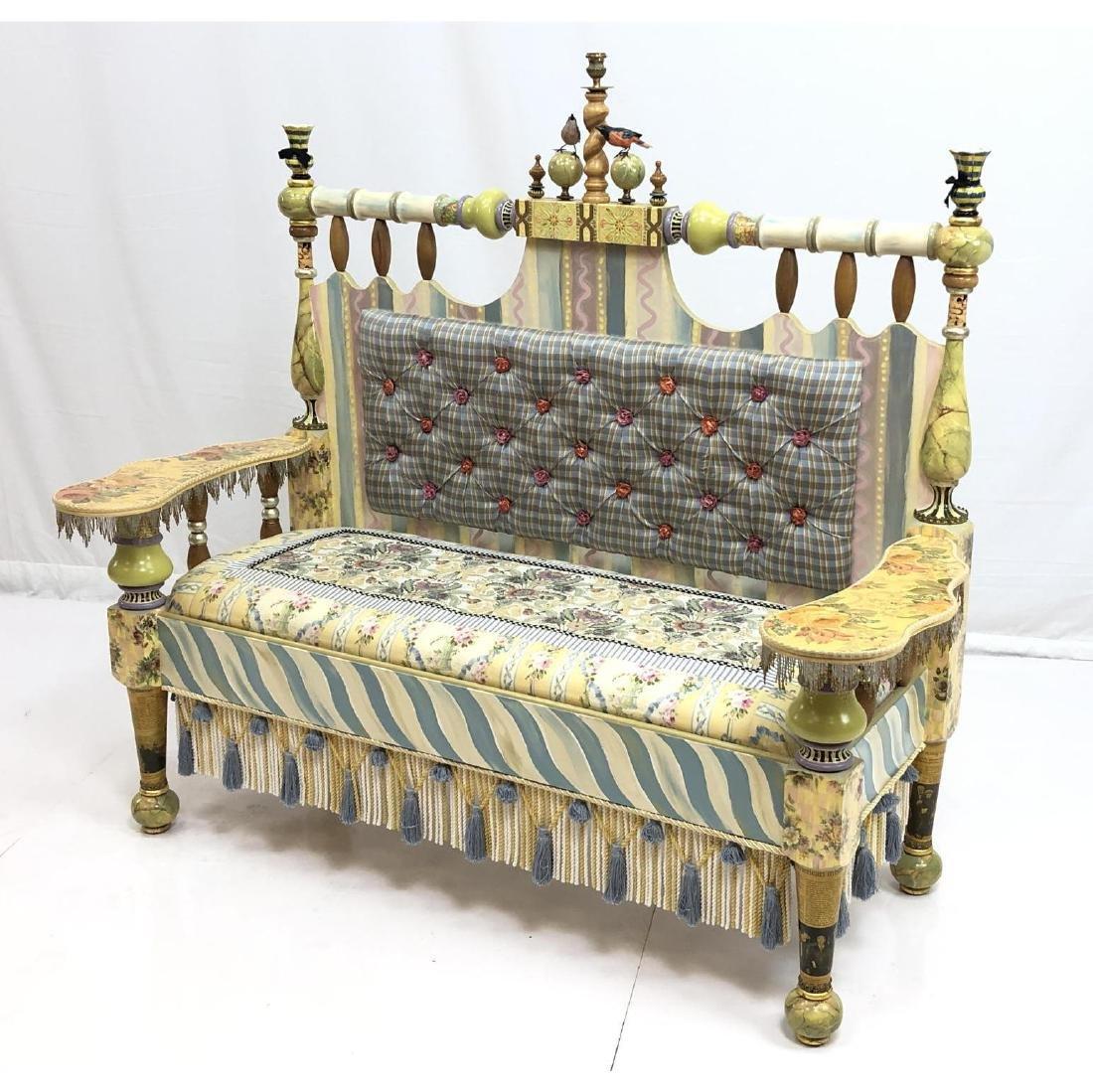 MACKENZIE CHILDS Handmade Painted Settee Couch. E