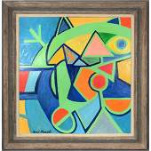 RENE MARCIL Modernist Abstract Oil Painting. Geom