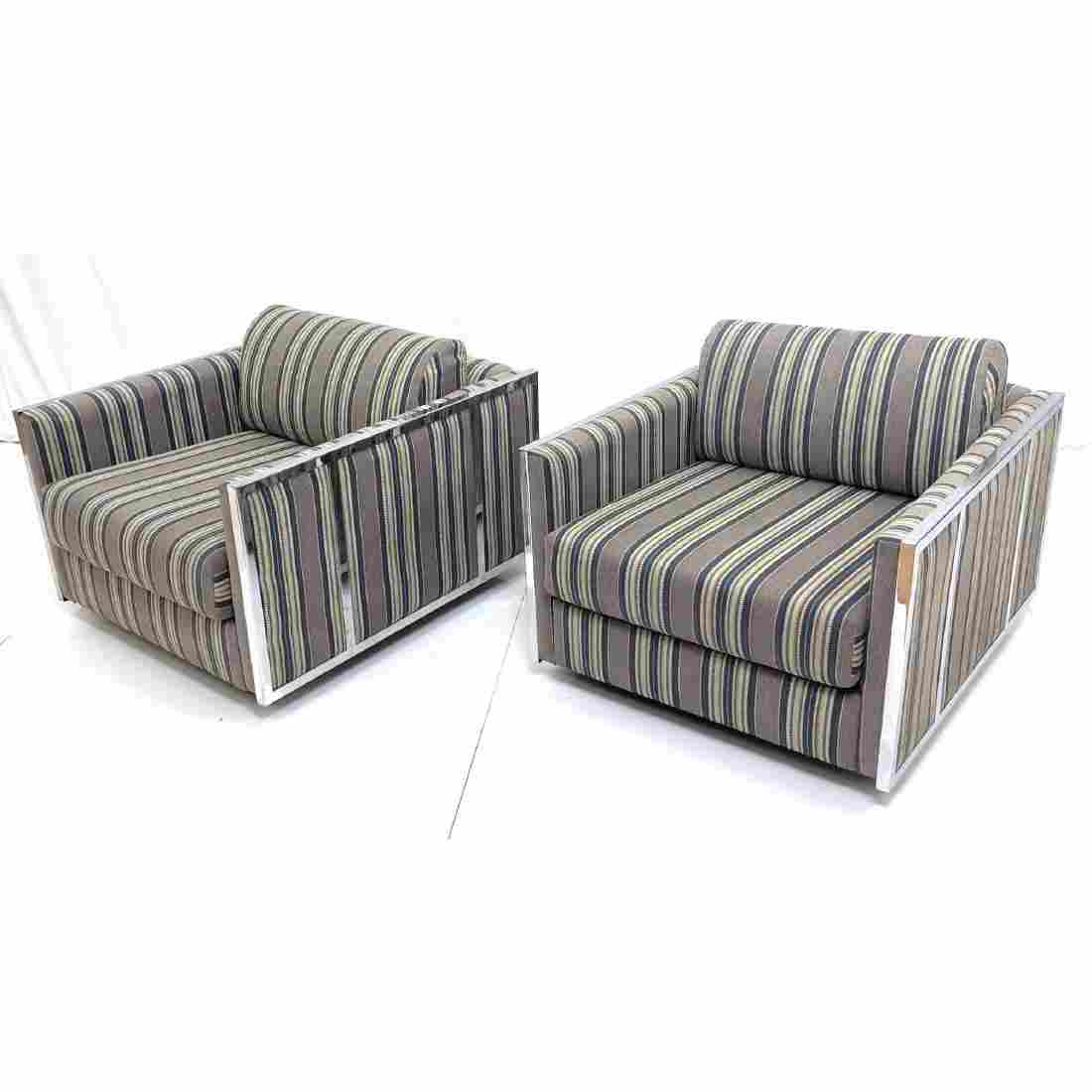Pr Chrome Frame Upholstered Cube Lounge Chairs. M